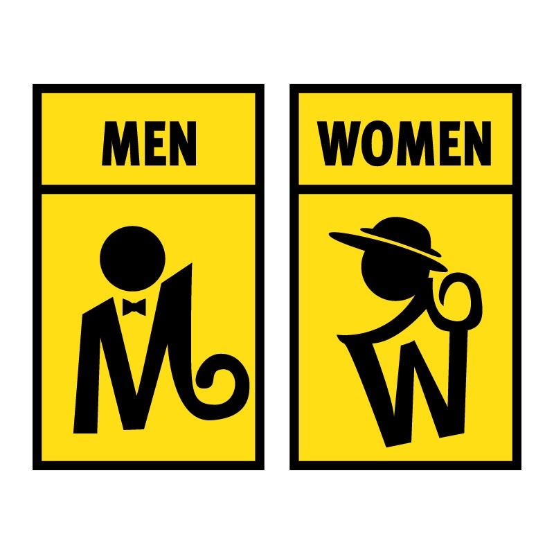 Men Women yellow signs