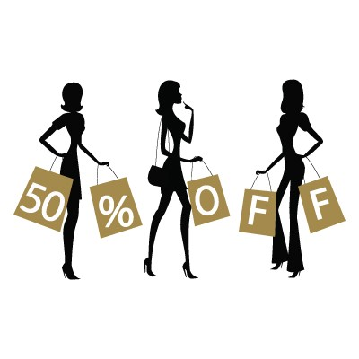 50% Off κοπέλες που ψωνίζουν