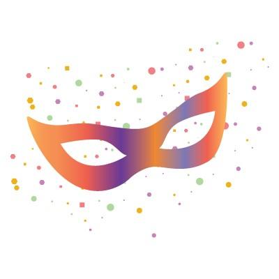 Πολύχρωμη μάσκα με confetti