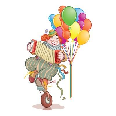 Αρλεκίνος με μπαλόνια και ακορντεόν