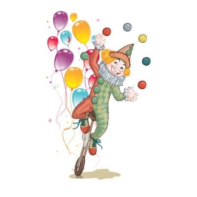 Αρλεκίνος με πολύχρωμα μπαλόνια