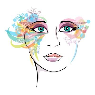 Γυναικείο πρόσωπο πολύχρωμα μάτια