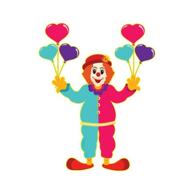 Κλόουν που κρατάει μπαλόνια καρδιές
