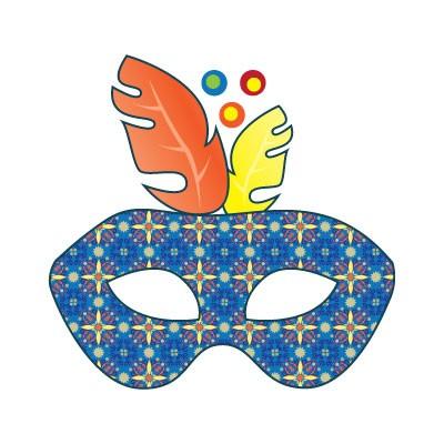 Μπλε μάσκα με κίτρινο - πορτοκαλί φτερό