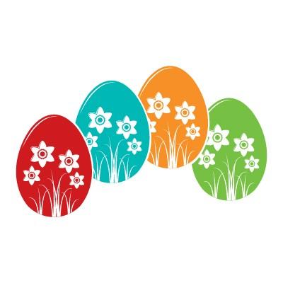 Πασχαλινά Αυγά με όμορφα λουλούδια
