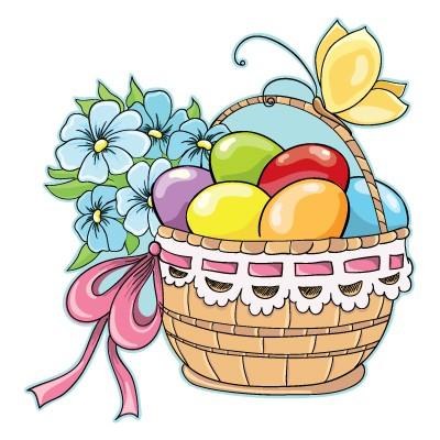 Καλάθι με αυγά και πεταλούδα