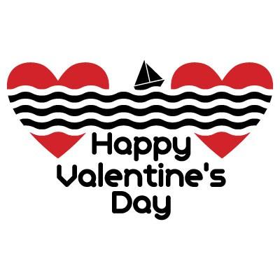 Happy Valentines Day καρδιές και θάλασσα