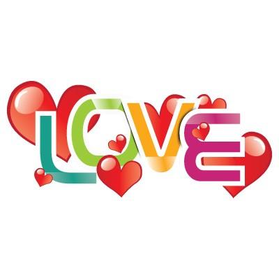 Love πολύχρωμα γράμματα με καρδιές