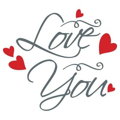 Love you με πολλές κόκκινες καρδιές