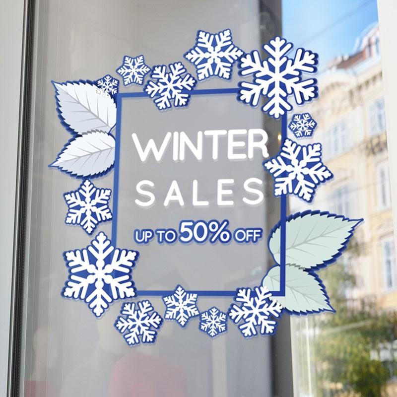 Winter Sales 50% Snowflakes Pattern