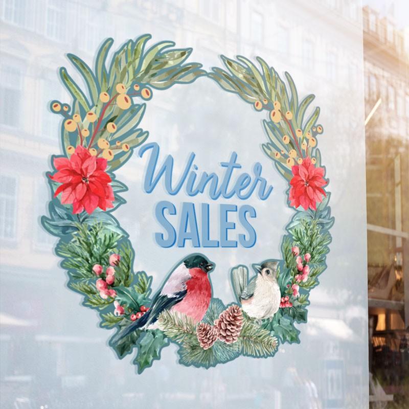 Winter Sales Στεφάνι με Λουλούδια