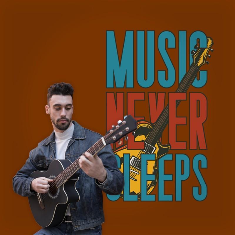 Αυτοκόλλητο Τοίχου - Music Never Sleeps