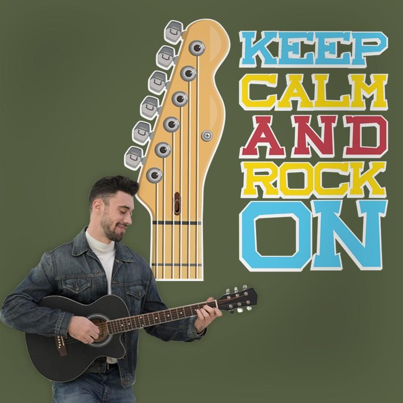 Αυτοκόλλητο Τοίχου - Keep Calm and Rock On