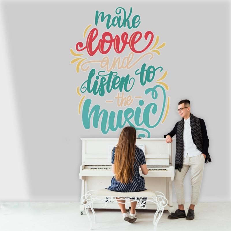 Αυτοκόλλητο Τοίχου - Make Love and Listen to the Music