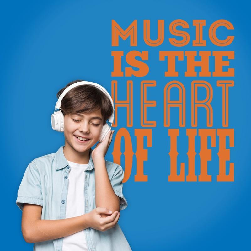 Αυτοκόλλητο Τοίχου - Music is The Heart...