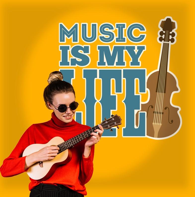 Αυτοκόλλητο Τοίχου - Music Is My Life