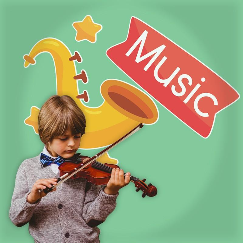 Αυτοκόλλητο Τοίχου - Σαξόφωνο Music