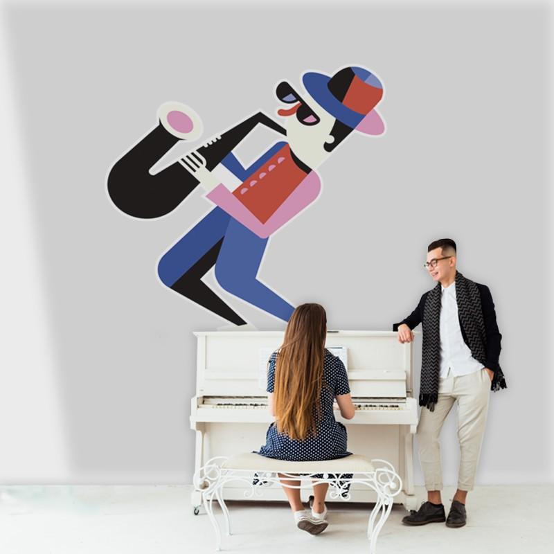 Αυτοκόλλητο Τοίχου - Μουσικός Σαξόφωνο