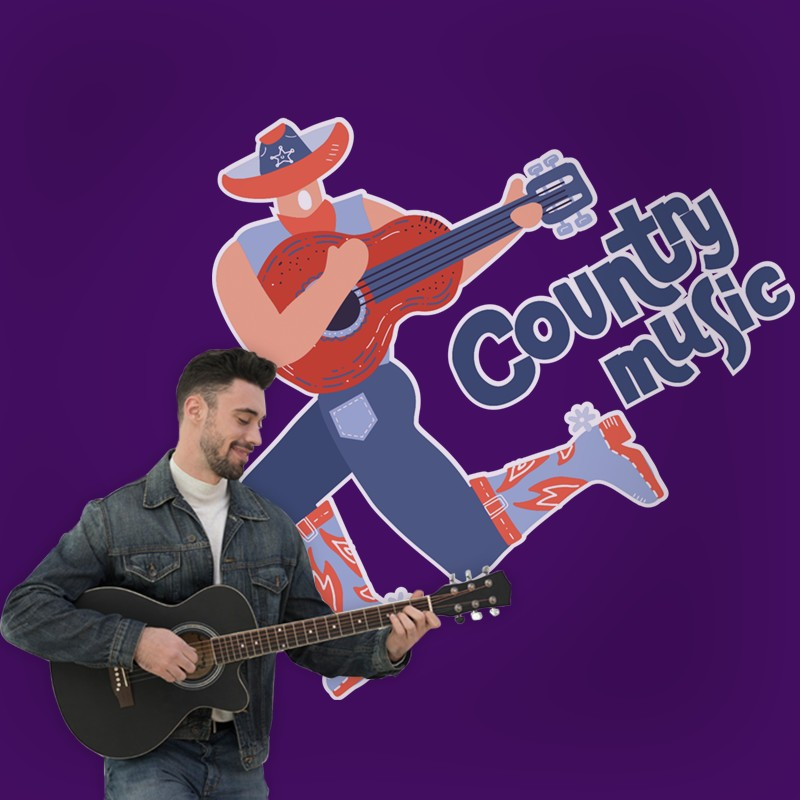 Αυτοκόλλητο Τοίχου - Country Music