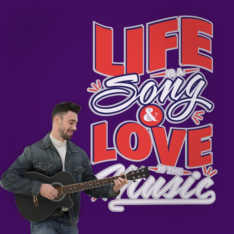 Αυτοκόλλητο Τοίχου - Life, Song & Love