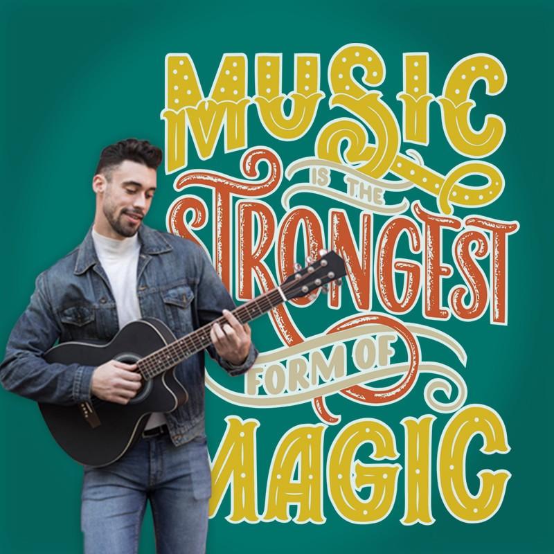 Αυτοκόλλητο Τοίχου - Music is the Strongest...