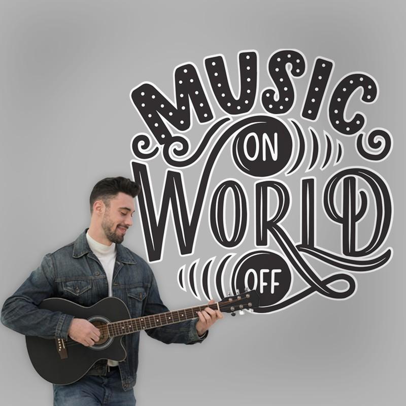 Αυτοκόλλητο Τοίχου - Music On World Off