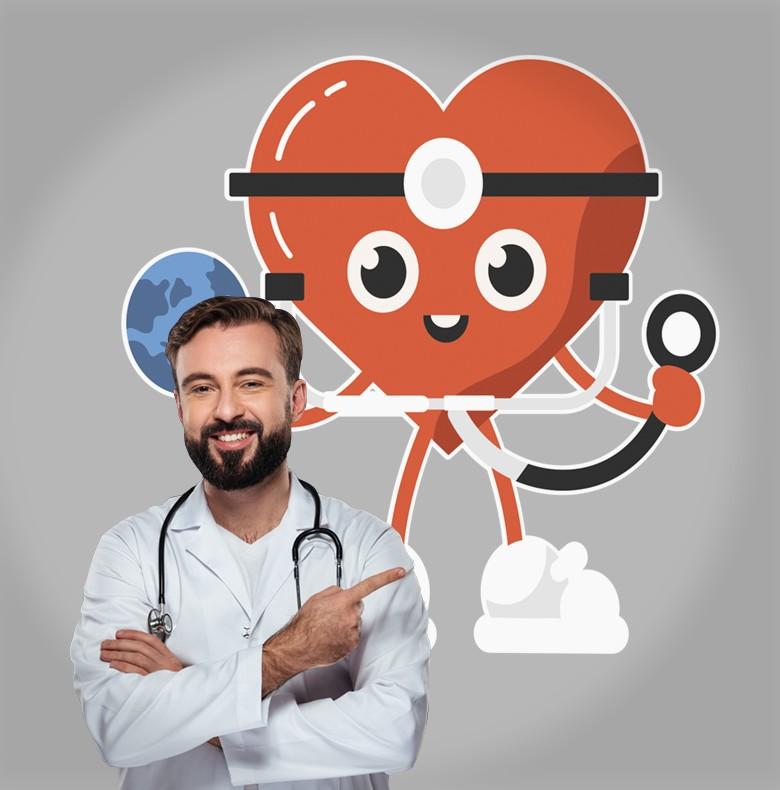 Αυτοκόλλητο Τοίχου - Καρδιά Ιατρός