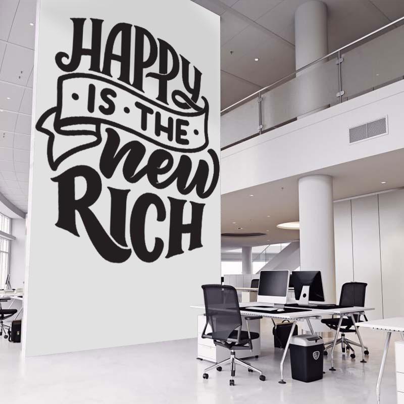 Αυτοκόλλητο τοίχου - Happy is the new rich