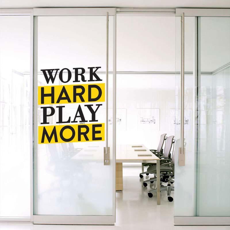 Αυτοκόλλητο Τοίχου - Work Hard Play More