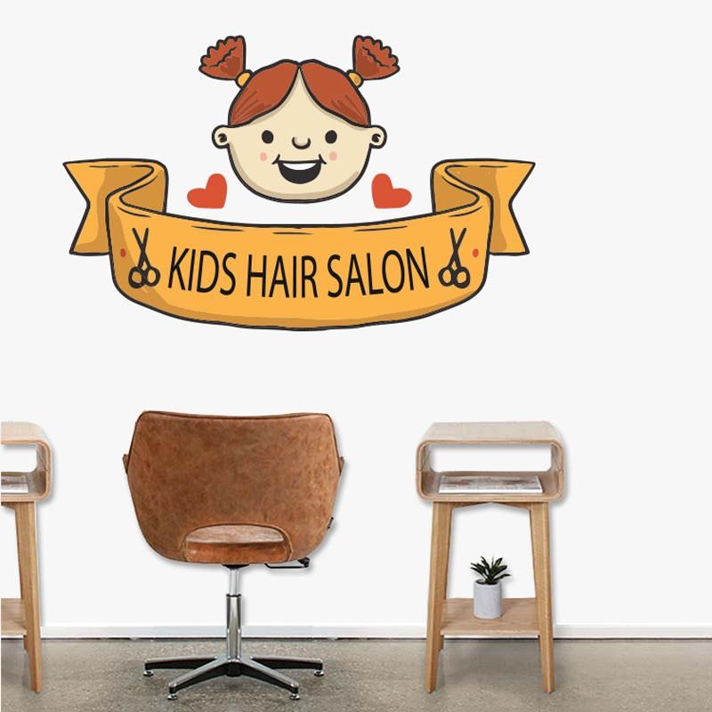 Αυτοκόλλητο Τοίχου - Kids Hair Salon