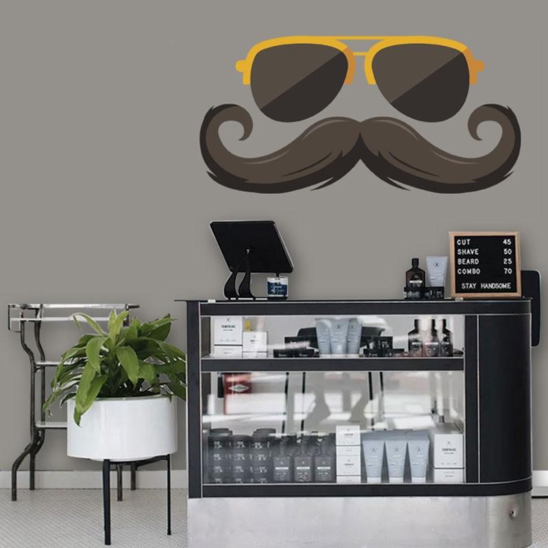 Αυτοκόλλητο Τοίχου -Mustache & Sunglasses