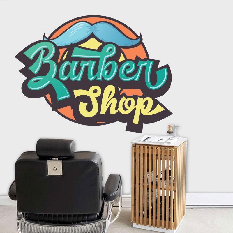 Αυτοκόλλητο Τοίχου - Colorful Barbershop