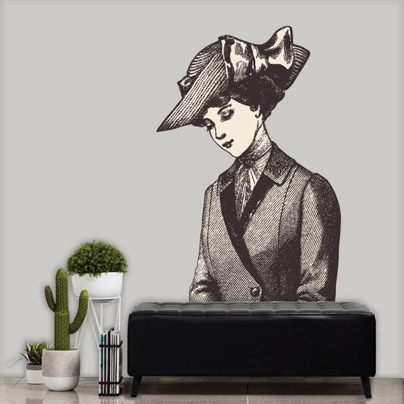 Αυτοκόλλητο Τοίχου - Woman With Hat