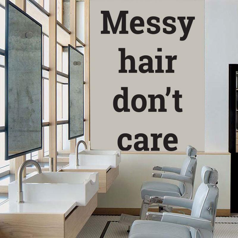 Αυτοκόλλητο Τοίχου - Messy Hair Don't Care