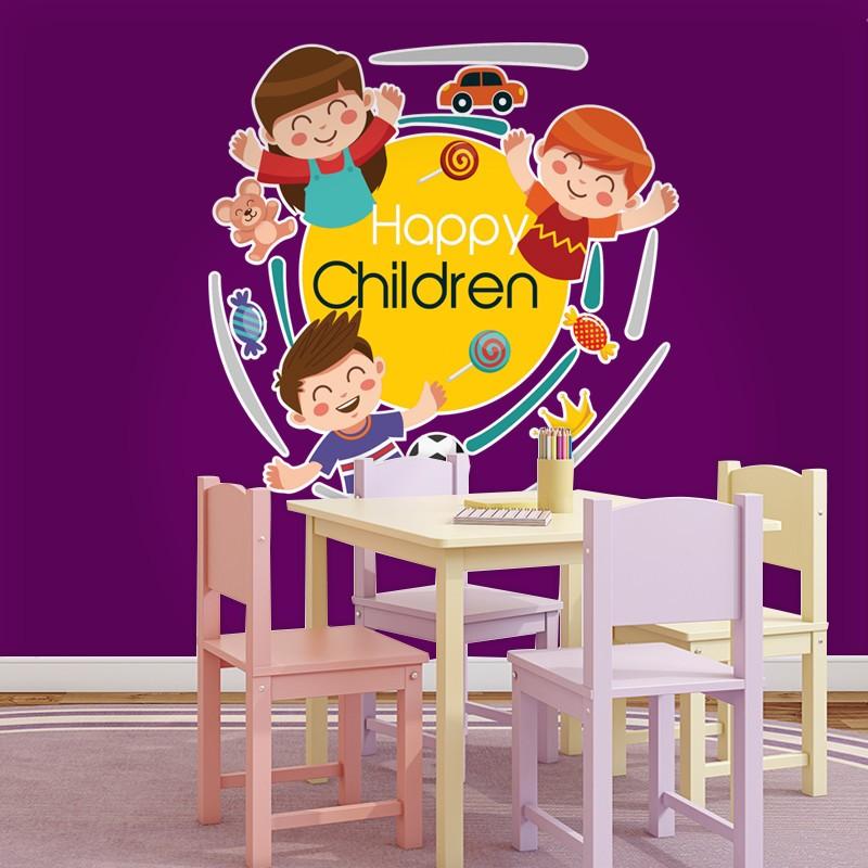 Αυτοκόλλητο Τοίχου - Happy Children