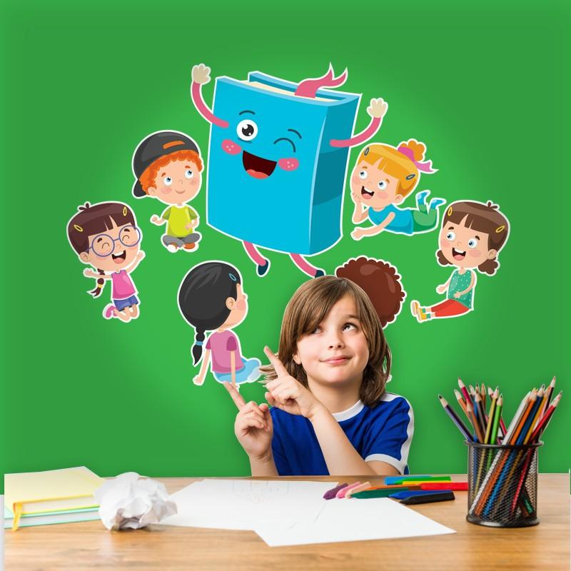 Αυτοκόλλητο Τοίχου - Παιδιά Γύρω Από Βιβλίο