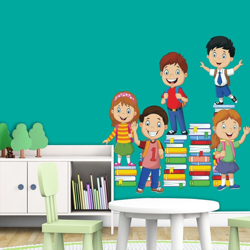 Αυτοκόλλητο Τοίχου - Παιδιά Πάνω Σε Βιβλία