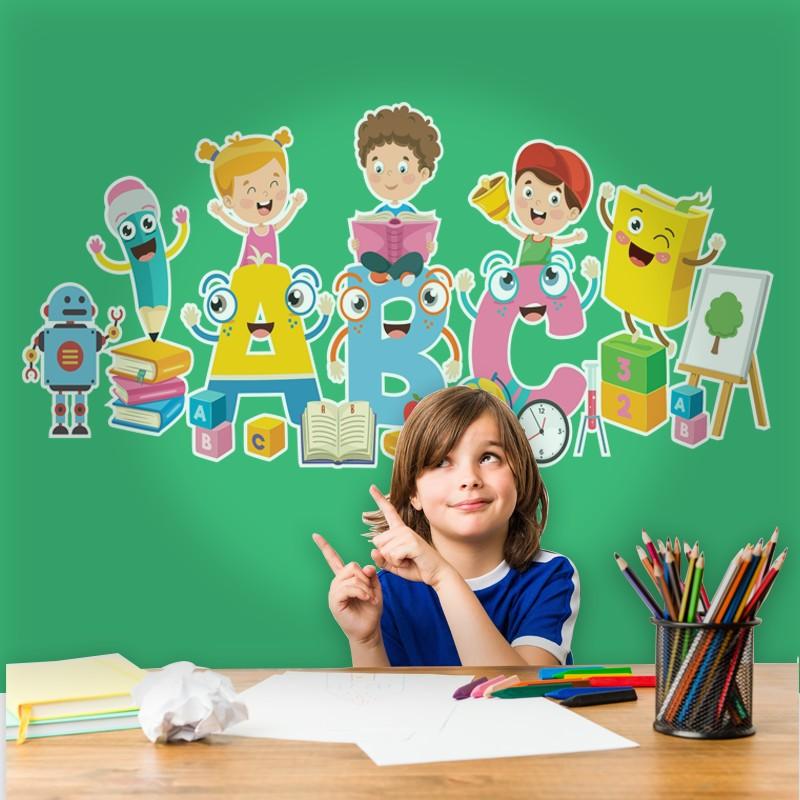 Αυτοκόλλητο Τοίχου - ABC Και Παιδιά